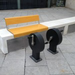 Two wheels with existing bench Gym street furniture